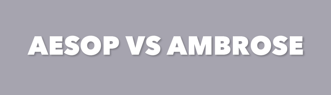 Text reading Aesop vs. Ambrose on a light purple background.