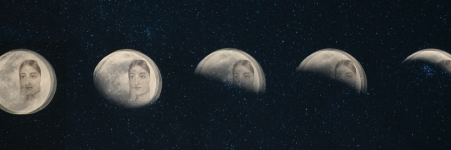 A series of moons at various stages in the moon cycle with a starry background, all with a woman's face superimposed.