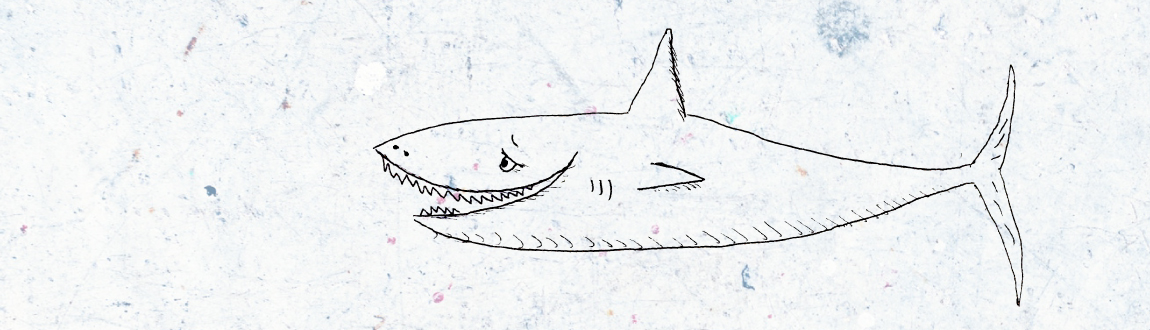 A line art drawing of a shark with a love sick expression on his face.