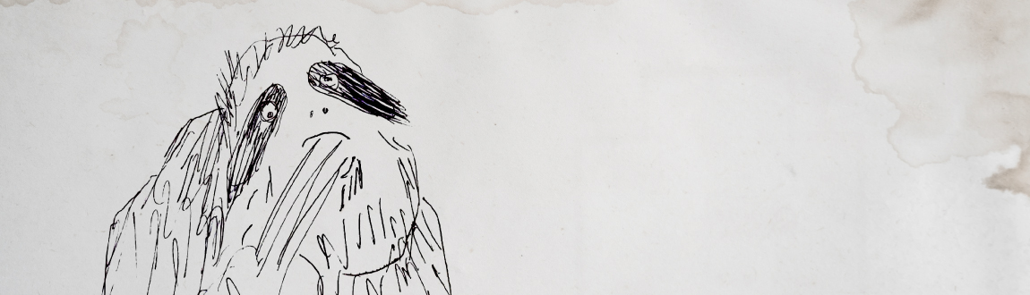 Ink drawing of an idle sloth on a background of stained paper