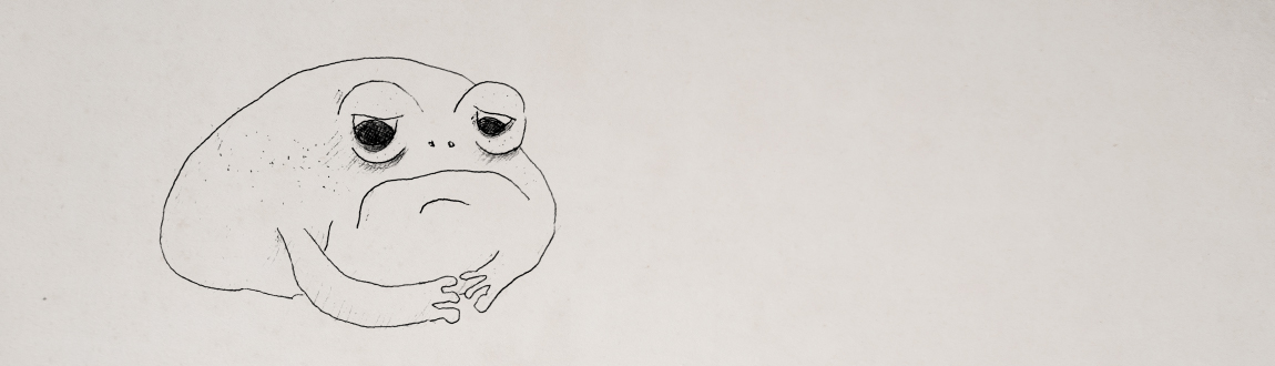 A black and white line art drawing of a frog who has a sad expression